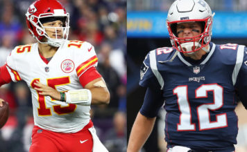 Quarterbacks who will play in the Chiefs vs. Patriots AFC Conference Championship game. Photo via CBS Sports.