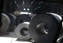 Rolls of finished steel at a facility in Granite City, Ill. Photo via AP.