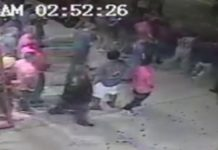 Security footage captures a portion of the outside brawl. Photo via WINK News.