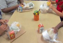 Students snacking on package meals. WINK News photo.
