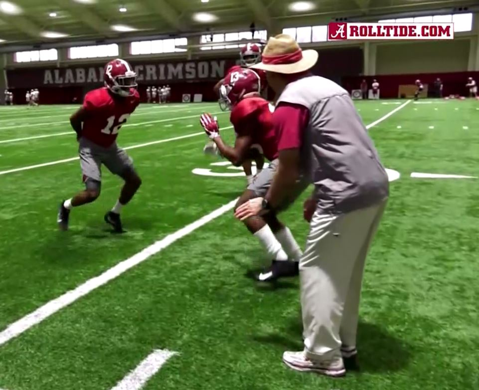 Tagovailoa able to quickly move again after using the medical device. Photo via RollTide.com.