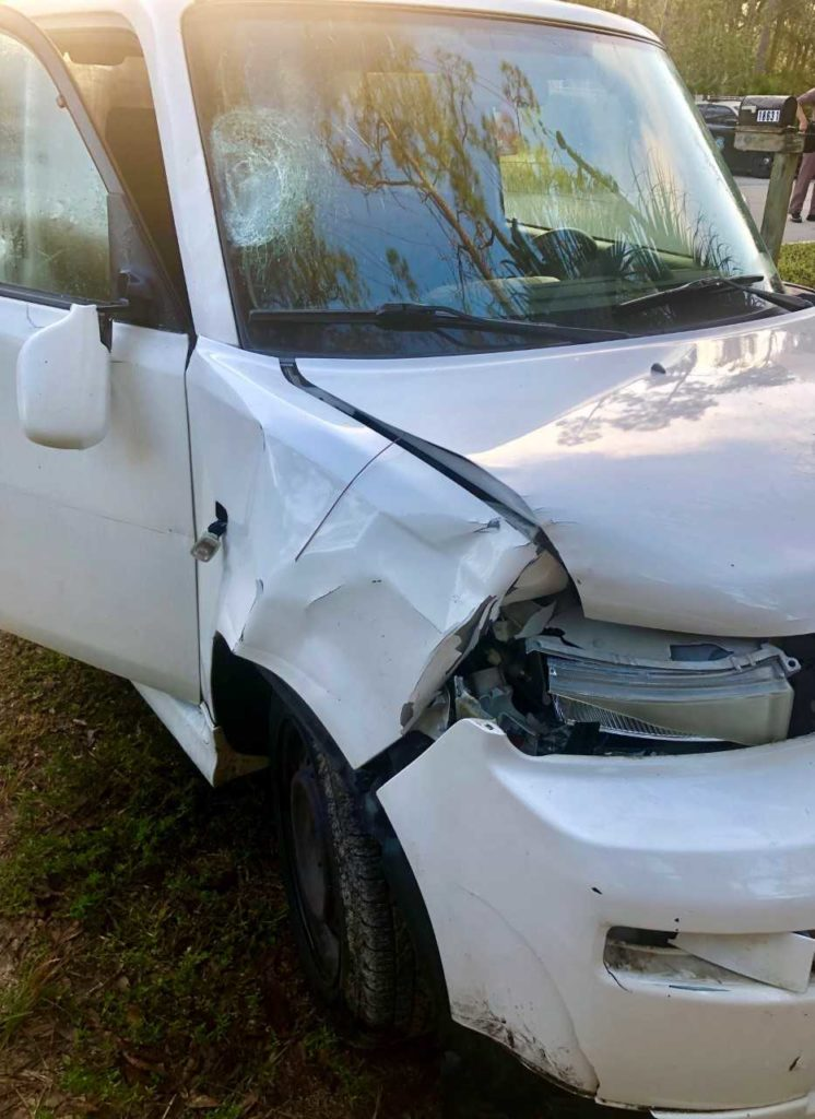 The 2006 Toyota that struck a 12-year-old girl Monday morning. Photo via FHP.