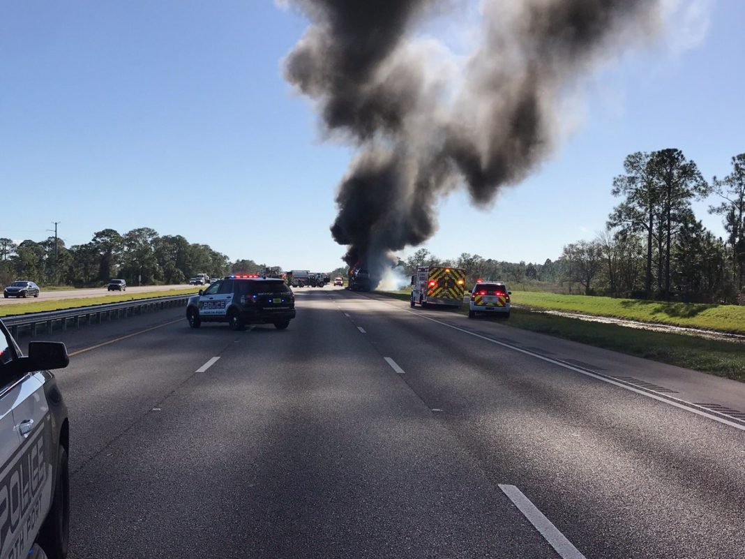 Vehicle fire on I-75 southbound MM 175 in North Port on Wednesday, Jan. 2, 2019. Photo via North Port Police.