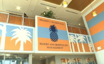 In the lobby of the Hospitality building at FGCU. Photo via WINK News.