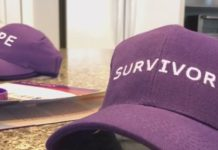 A hat acknowledging survivors of a deadly cancer. (WINK News photo)