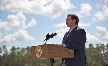 Governor Ron DeSantis speaks in Naples. (Governor Press Office)