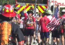 People walk to raise awareness for Florida firefighters. (WINK News photo)