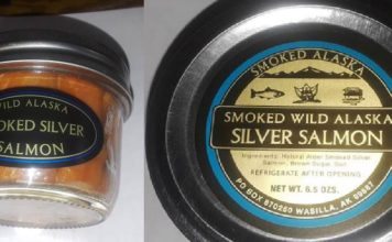 Feb. 15, recall of Smoked Silver Salmon in 6.5 oz. containers with the production code of AL81111133. (FDA photo)
