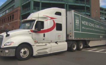 Red Sox equipment truck on its way to Fort Myers. (CBS photo)