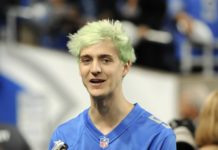 """File-This Sept. 10, 2018, file photo shows Tyler """"Ninja"""" Blevins before an NFL football game between the Detroit Lions and New York Jets in Detroit. For the first time since its meteoric rise, """"Fortnite"""" is no longer a no-doubt victory royale atop the video game industry. """"Apex Legends"""", a battle royale from Electronic Arts, has stormed the market and smashed """"Fortnite"""" records for downloads and viewership since its release three weeks ago. Blevins and other streaming stars have powered that surge, as has the emergence of an 18-year-old """"Apex"""" superstar. Esports teams are already scrambling to sign talented players and invest long-term in the breakout title. (AP Photo/Jose Juarez, File)"""