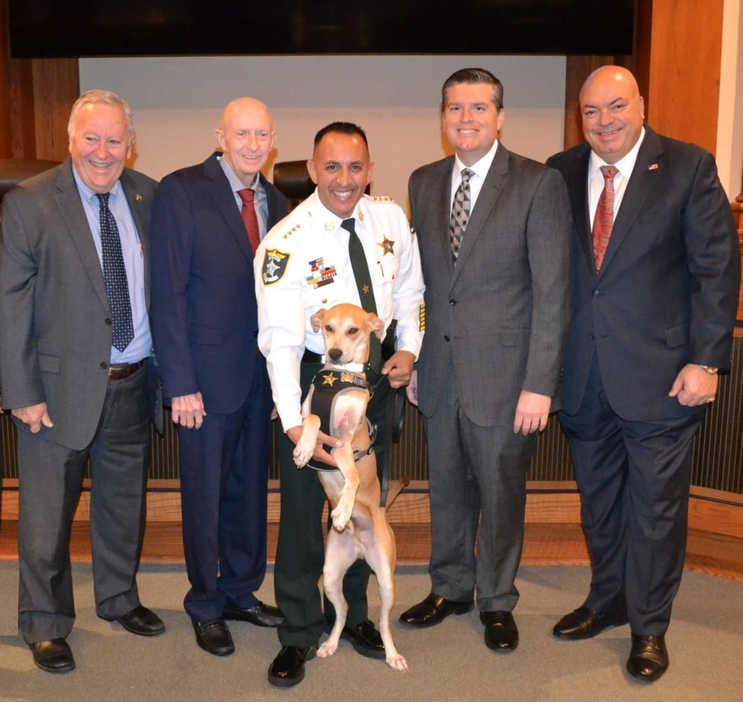 Deputy Chance meets commissioners. (Credit: LCSO)