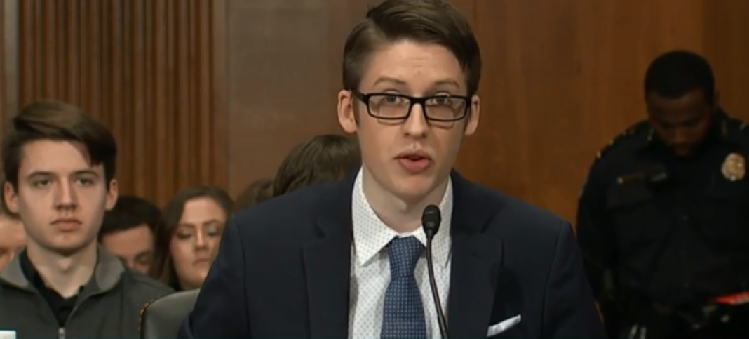 Ethan Lindenberger testified before a Senate committee. (CBS News photo)