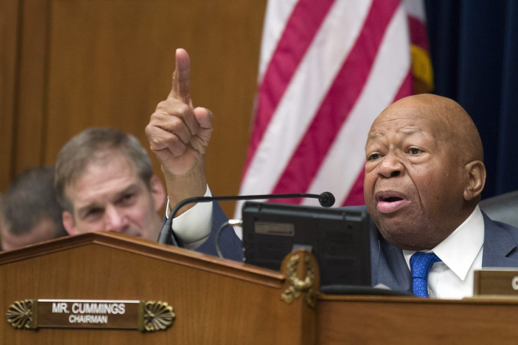 FILE - In this Wednesday, Feb. 27, 2019 file photo, House Oversight and Reform Committee Chair Elijah Cummings, D-Md., right, speaks as he gives closing remarks with Rep. Jim Jordan, R-Ohio, the ranking member, at left, as the hearing for Michael Cohen, President Donald Trump's former lawyer, at the House Oversight and Reform Committee concludes, on Capitol Hill, in Washington. Cummings, said afterward that he wanted to call in several people mentioned repeatedly by Cohen. (AP Photo/Alex Brandon, File)
