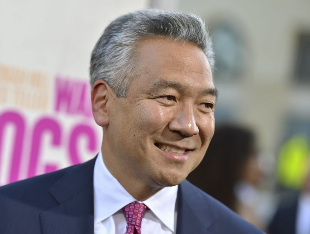 FILE - In this Aug. 15, 2016 file photo, Kevin Tsujihara, chairman and CEO, Warner Bros. Entertainment, arrives at the Los Angeles premiere of
