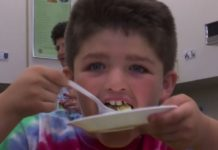 Kid enjoying the food from the pantry. (Credit: WINK News)