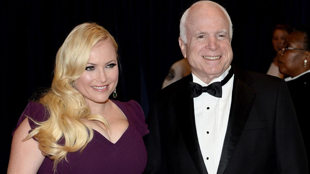 Meghan McCain with her deceased father, John. (Credit CBS)