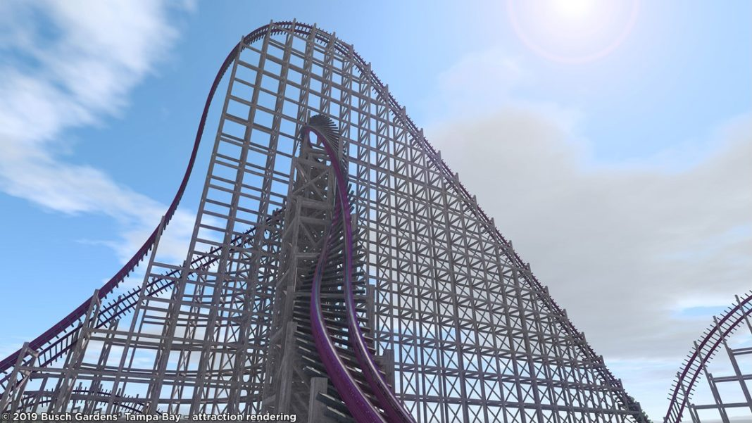 Attraction rendering of the steel hybrid roller coaster. (Credit: Busch Gardens)