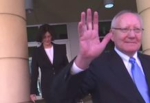 Robert and Kay Gow exit the courthouse. (WINK News photo)