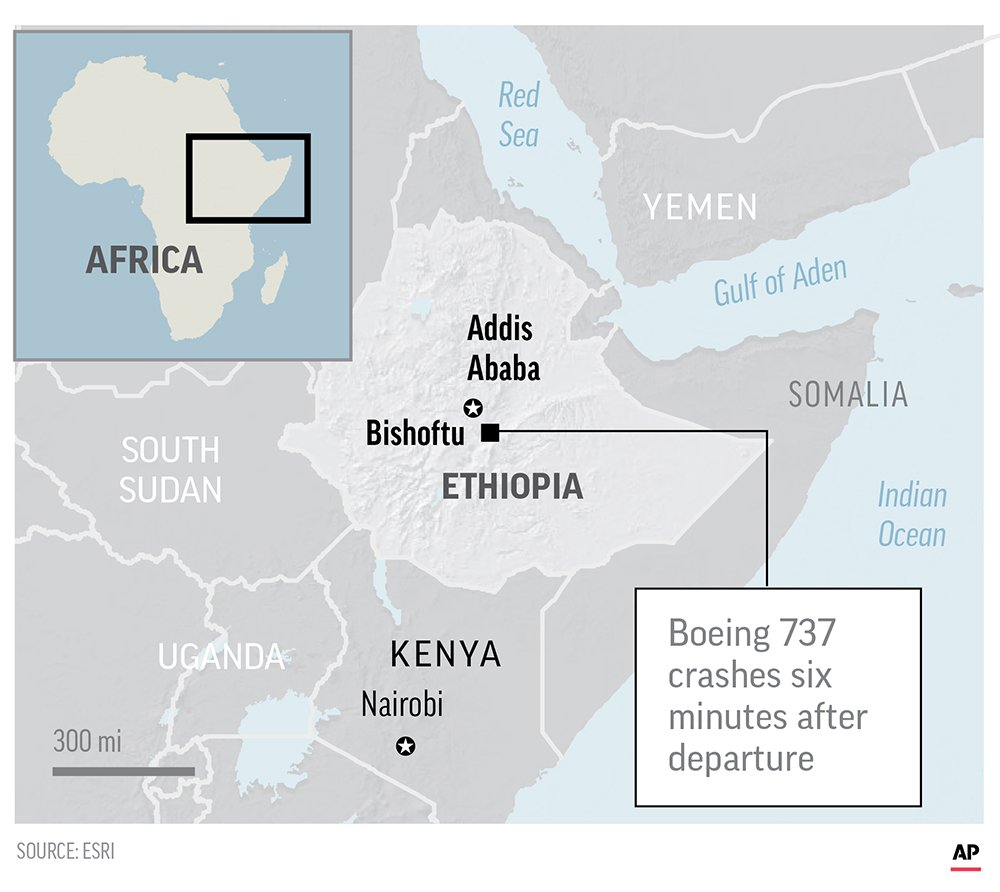 Jetliner Crashes In Ethiopia, Killing 157 From 35 Countries