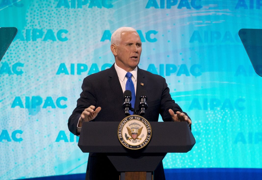 Vice President Mike Pence speaks at the 2019 American Israel Public Affairs Committee (AIPAC) policy conference, at Washington Convention Center, in Washington, Monday, March 25, 2019. (AP Photo/Jose Luis Magana)