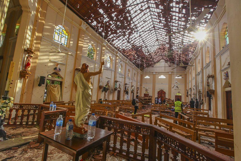 A view of St. Sebastian's Church damaged in blast in Negombo, north of Colombo, Sri Lanka, Sunday, April 21, 2019. (AP Photo/Chamila Karunarathne)