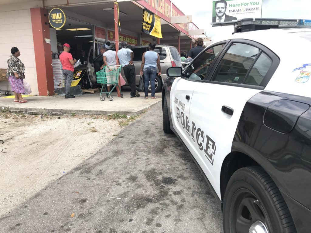 Car slams into the Fowler Meat, Fish & Produce in Fort Myers Monday afternoon. (Credit: Maria Palmeri/WINK News)
