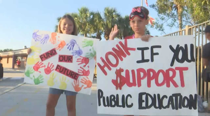 Children advocate for more public education funds during the Collier County 'walk-in'. (Credit: WINK News)