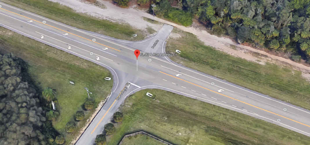 Crash at SR 82 and Rue Labeau Cir in Fort Myers. (Credit: Google Maps)
