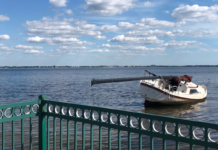 Derelict boat in Charlotte Harbor. (Credit: WINK News viewer)