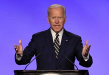 In this April 5, 2019 photo, former Vice President Joe Biden speaks at the International Brotherhood of Electrical Workers construction and maintenance conference in Washington. (AP Photo/Manuel Balce Ceneta)