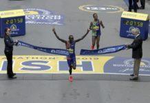 Lawrence Cherono, of Kenya, breaks the tape to win the 123rd Boston Marathon in front of Lelisa Desisa, of Ethiopia, right, on Monday, April 15, 2019, in Boston. (AP Photo/Charles Krupa)Lawrence Cherono, of Kenya, breaks the tape to win the 123rd Boston Marathon in front of Lelisa Desisa, of Ethiopia, right, on Monday, April 15, 2019, in Boston. (AP Photo/Charles Krupa)