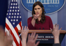 White House press secretary Sarah Huckabee Sanders speaks during the daily press briefing at the White House, Tuesday, April 10, 2018, in Washington. (AP Photo/Evan Vucci)