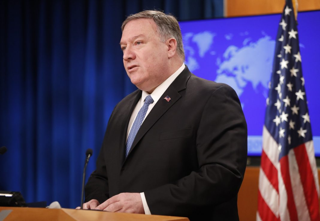Secretary of State Mike Pompeo speaks during a news conference at the State Department in Washington, Wednesday, April 17, 2019. The Trump administration announced that it's allowing lawsuits against foreign companies operating in properties seized from Americans in Cuba, a major policy shift that has angered European and other allies.(AP Photo/Pablo Martinez Monsivais)