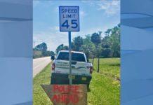 Sign alerts drivers to Collier County Sheriff's Office speed enforcement operation. (Credit: CCSO)