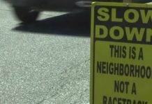 Sign in Englewood East telling drivers to slow down. (Credit: WINK News)
