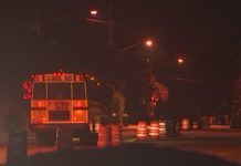 Bus travels in the dark for an early morning pickups. (Credit: WINK News)