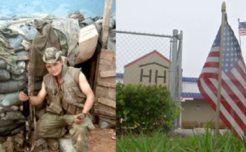 Donald Payton in Vietnam (left) in 1970 and his 'Hearts and Homes For Veterans' warehouse (right) off of Alicia Street in Fort Myers. (Credit: WINK News)