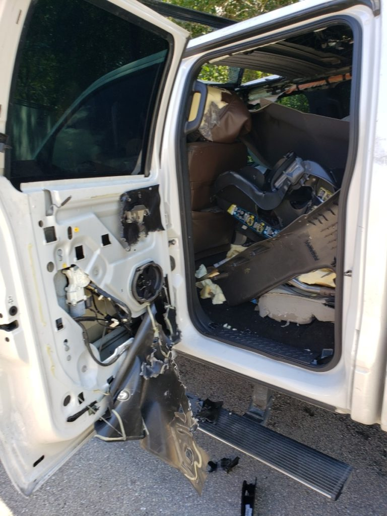 Inside of the vehicle damaged by at least one bear. (Credit: CCSO)