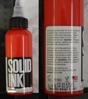 Solid Ink-Diablo (red) Tattoo Ink (manufactured by Color Art Inc.). (Credit: FDA)