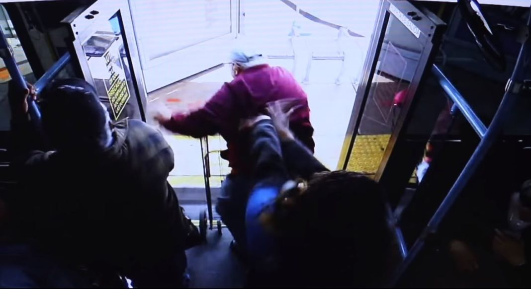 Suspect pushes an elderly man off a bus. (Credit: LVPD)