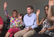 Teachers raise their hands about having looked for a second job. (Credit: WINK News)
