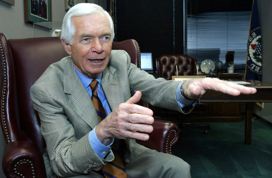 FILE - In this Aug. 24, 2005, file photo, U.S. Sen. Thad Cochran, R-Miss., speaks to a reporter in Jackson, Miss. Seven-term Republican Sen. Thad Cochran, who used seniority to steer billions of dollars to his home state of Mississippi, died Thursday, May 30, 2019. He was 81. (AP Photo/Rogelio Solis, File)