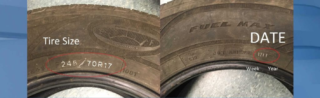 Where to check for the tire size, left, and tire year, right. (Credit: WINK News)