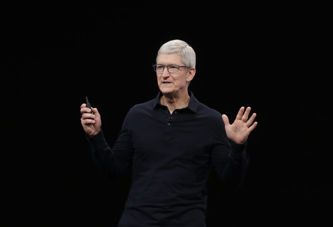 Apple CEO Tim Cook speaks at the Apple Worldwide Developers Conference in San Jose, Calif., Monday, June 3, 2019. (AP Photo/Jeff Chiu)