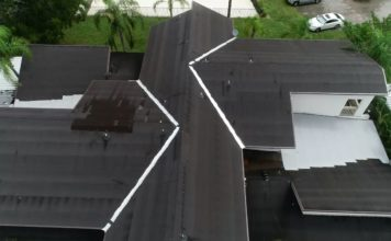 Ariel view of a home worked on by Campbell Roofing. (Credit: WINK News)