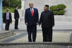 President Donald Trump and North Korean leader Kim Jong Un, stand on the North Korean side of the border in the Demilitarized Zone, Sunday, June 30, 2019 in North Korea. (AP Photo/Susan Walsh)