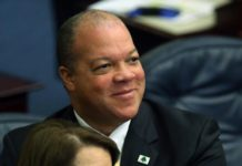 In this March 3, 2016 file photo Rep. Mike Hill, R-Pensacola Beach, smiles during a House session in Tallahassee, Fla. Hill is being admonished, Monday, June 3, 2019, by his own party for his response to a suggestion that gay people be put to death. He had an exchange with constituents during a meeting at Pensacola City Hall last month in which one man said the Bible's 1 Corinthians calls for a man having an affair with another man to be put to death. (AP Photo/Steve Cannon)