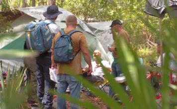 Homeless veteran living in the woods. (Credit: WINK News)