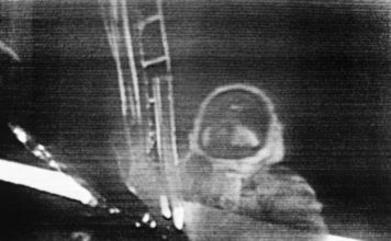 "In this July 20, 1969 image made from television, Apollo 11 astronaut Neil Armstrong steps onto the surface of the moon. Millions on Earth who gathered around the TV and radio heard Armstrong say this: ""That's one small step for man, one giant leap for mankind."" But after returning from space, he immediately insisted that he had been misquoted. He said there was a lost word in his famous one-liner from the moon: ""That's one small step for 'a' man."" It's just that people just didn't hear it."" (NASA via AP)"