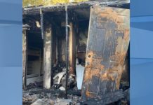 North Fort Myers mobile home after the fire, where their dog died. (Credit: WINK News)